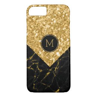 Capa iPhone 8/ 7 Brilho preto geométrico do mármore & do ouro