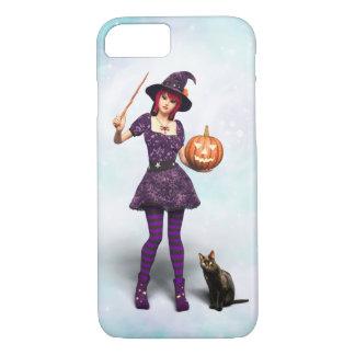Capa iPhone 8/ 7 Bruxa bonito do Dia das Bruxas com gato preto e