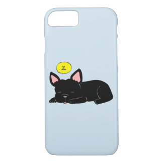 Capa iPhone 8/ 7 Buldogue francês sonolento (preto)