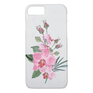 Capa iPhone 8/ 7 buquê cor-de-rosa da aguarela da magnólia no