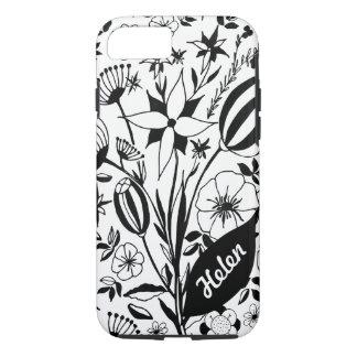 Capa iPhone 8/ 7 Buquê floral preto e branco - nome personalizado