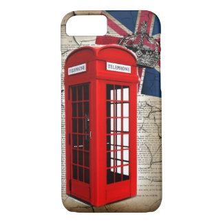 Capa iPhone 8/ 7 cabine de telefone vermelha da coroa do jubileu da