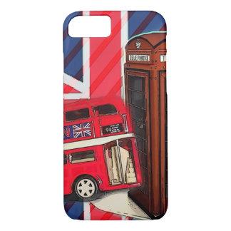 Capa iPhone 8/ 7 Cabine de telefone vermelha do ônibus retro de