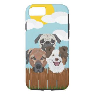 Capa iPhone 8/ 7 Cães afortunados da ilustração em uma cerca de