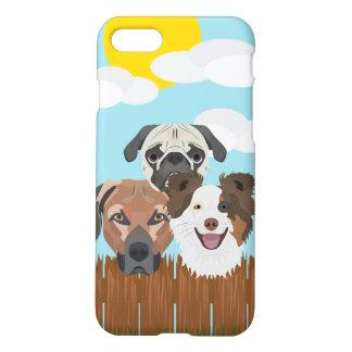 Capa iPhone 8/7 Cães afortunados da ilustração em uma cerca de
