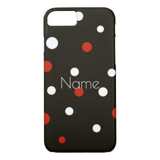 Capa iPhone 8/ 7 Caixa branca e preta vermelha do tema das bolinhas