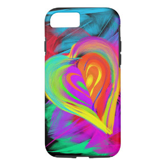 Capa iPhone 8/ 7 Caixa colorida do iPhone 7 do Doodle do coração