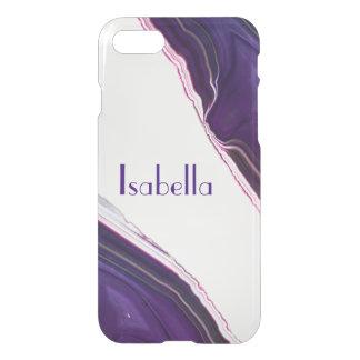 Capa iPhone 8/7 Caixa cristalino personalizada da gema roxa da