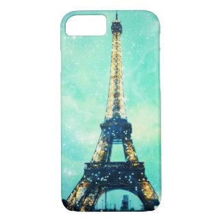Capa iPhone 8/ 7 Caixa da torre Eiffel, verde da hortelã e azul da
