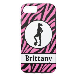 Capa iPhone 8/ 7 Caixa preta cor-de-rosa do telemóvel do futebol