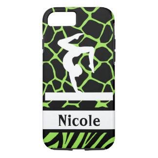 Capa iPhone 8/ 7 Caixa preta verde do telemóvel da ginástica