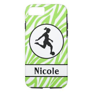 Capa iPhone 8/ 7 Caixa preta verde do telemóvel do futebol