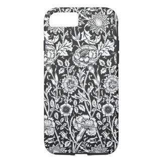 Capa iPhone 8/ 7 Caixa resistente preta & branca floral do iPhone