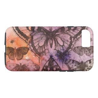 Capa iPhone 8/ 7 Caixa roxa do telemóvel das borboletas da aguarela