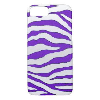 Capa iPhone 8/ 7 Caixa roxa elétrica do iPhone 7 da zebra do brilho