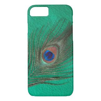 Capa iPhone 8/ 7 Caixa verde do iPhone 7 da pena do pavão