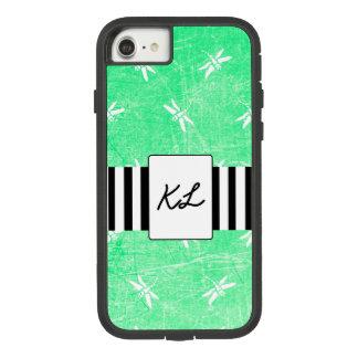 Capa iPhone 8/ 7 Caixa verde Monogrammed do telemóvel das libélulas