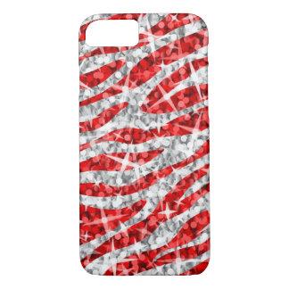 Capa iPhone 8/ 7 Caixa vermelha do iPhone 7 da zebra do Glitz