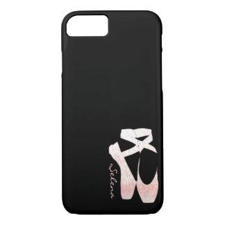 Capa iPhone 8/ 7 Calçados de balé macios personalizados do rosa do