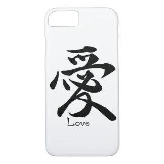 Capa iPhone 8/ 7 Caligrafia chinesa japonesa do AMOR do símbolo do