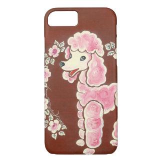 Capa iPhone 8/ 7 Cão de caniche cor-de-rosa feminino bonito