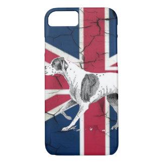 Capa iPhone 8/ 7 Cão inglês retro do ponteiro da bandeira britânica