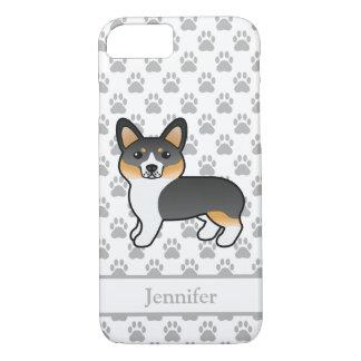 Capa iPhone 8/ 7 Cão Tricolor & nome do Pembroke do Corgi de Galês