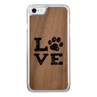Capa iPhone 8/ 7 Carved AMOR com impressão da pata do cão