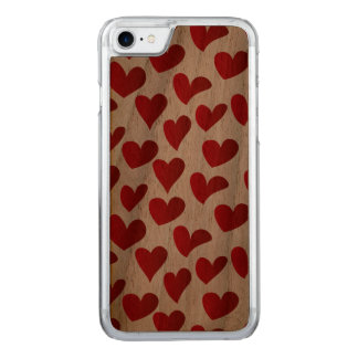 Capa iPhone 8/ 7 Carved Amor vermelho pintado teste padrão do coração da
