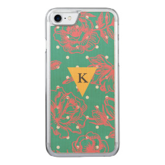 Capa iPhone 8/ 7 Carved Bolinhas florais do monograma