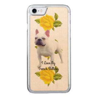Capa iPhone 8/ 7 Carved Buldogue francês e rosas amarelos