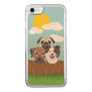 Capa iPhone 8/ 7 Carved Cães afortunados da ilustração em uma cerca de