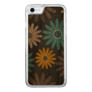 Capa iPhone 8/ 7 Carved Caixa magro da madeira da noz do iPhone 7 florais