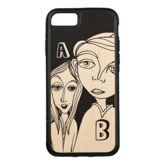 Capa iPhone 8/ 7 Carved Casal do Doodle & duas letras personalizadas