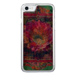 Capa iPhone 8/ 7 Carved Caso de madeira do iPhone da flor da arizona, flor