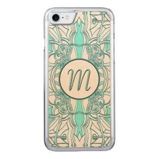 Capa iPhone 8/ 7 Carved Cerceta e turquesa Monogrammed