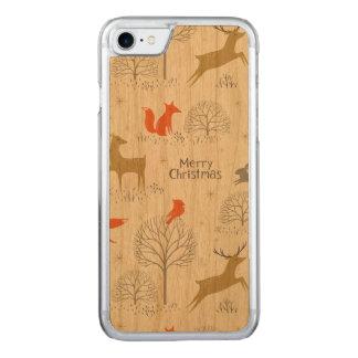 Capa iPhone 8/ 7 Carved Coelho bonito dos cervos da floresta do Natal -