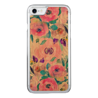 Capa iPhone 8/ 7 Carved Colagem colorida das flores das aguarelas