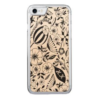 Capa iPhone 8/ 7 Carved Costume preto e branco do buquê floral