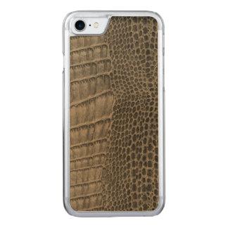 Capa iPhone 8/ 7 Carved Couro clássico do réptil do crocodilo de Nile