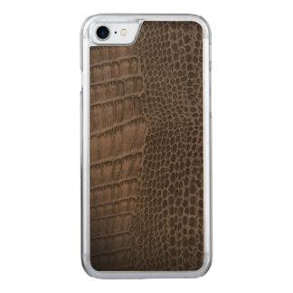 Capa iPhone 8/ 7 Carved Couro clássico do réptil do jacaré (falso)