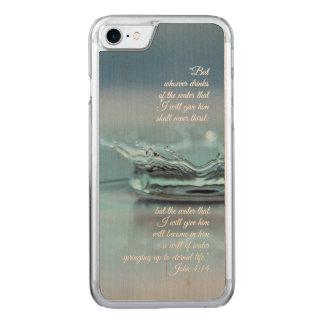 Capa iPhone 8/ 7 Carved Da água azul da vida verso John da bíblia da sede