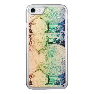 Capa iPhone 8/ 7 Carved Design do atlas do mapa do mundo do arco-íris