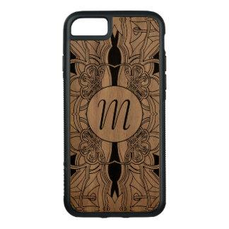 Capa iPhone 8/ 7 Carved Design preto e branco moderno w/Monogram dos
