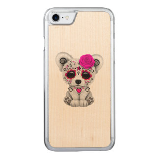 Capa iPhone 8/ 7 Carved Dia cor-de-rosa do urso polar do bebê inoperante