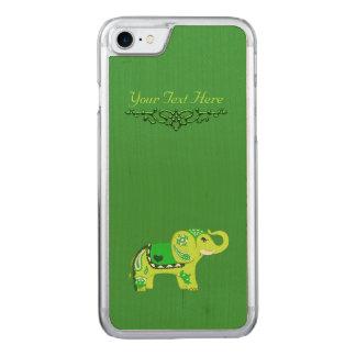 Capa iPhone 8/ 7 Carved Elefante do Henna (verde/verde limão)