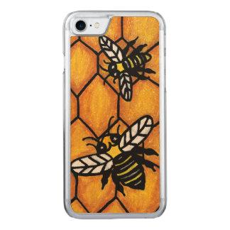 Capa iPhone 8/ 7 Carved Favo de mel de zumbido bonito da abelha da jaqueta