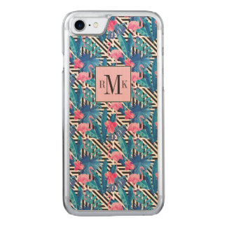 Capa iPhone 8/ 7 Carved Flamingo & palmas no teste padrão geométrico