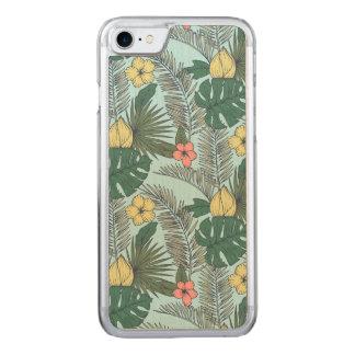Capa iPhone 8/ 7 Carved Folhas de palmeira do vintage e flores tropicais