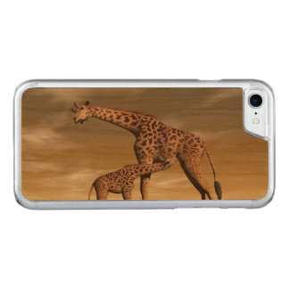 Capa iPhone 8/ 7 Carved Girafa da mãe e do bebê - 3D rendem